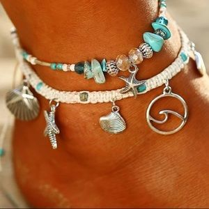Jewelry - Boho Charm Layered Anklet Set